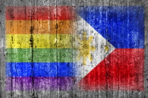 LGBT and Philippines flag on concrete wall